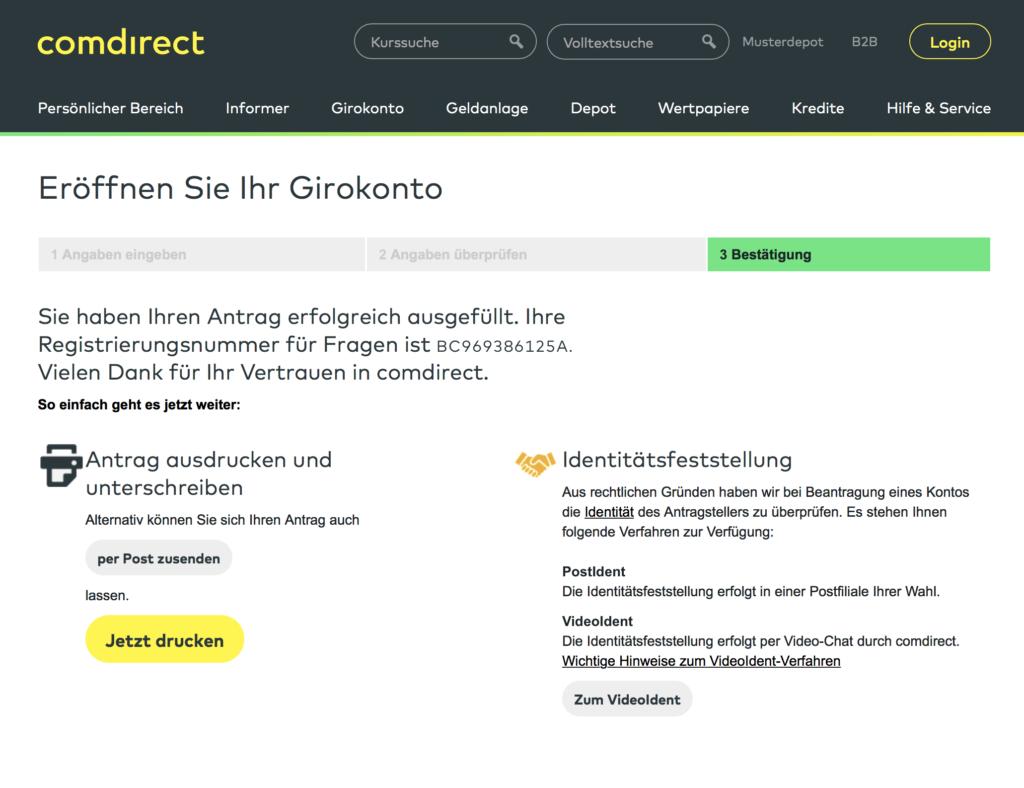 Poslednji korak ka otvaranju računa u ComDirect